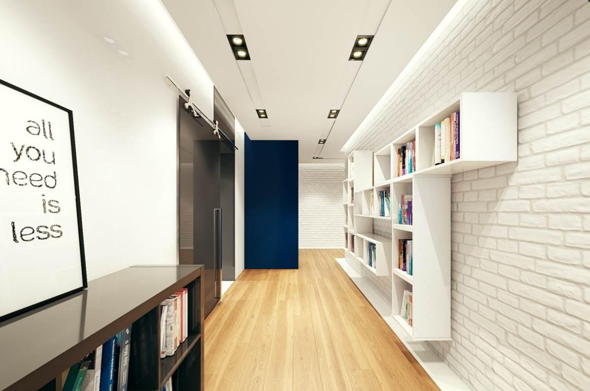 Белая кирпичная стена в современном интерьере6