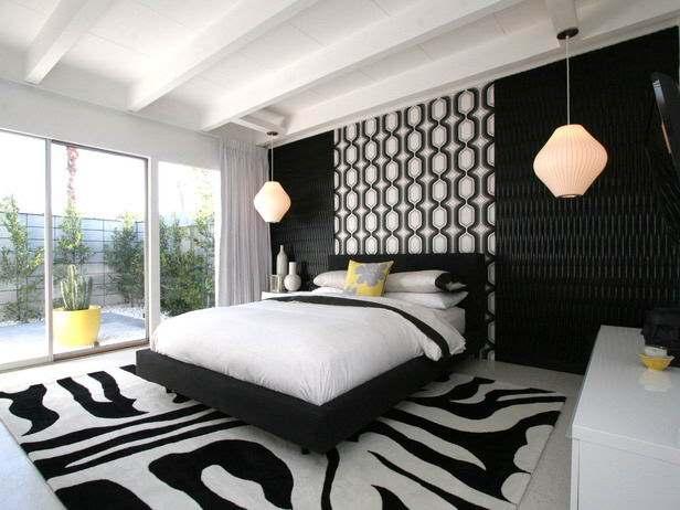 Черное-белая гамма для интерьера спальни1