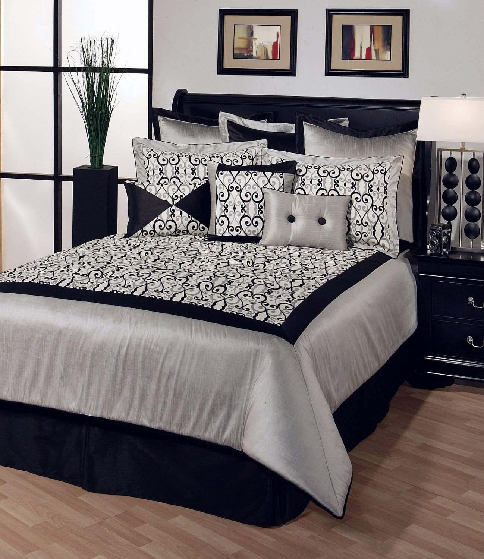 Черное-белая гамма для интерьера спальни2