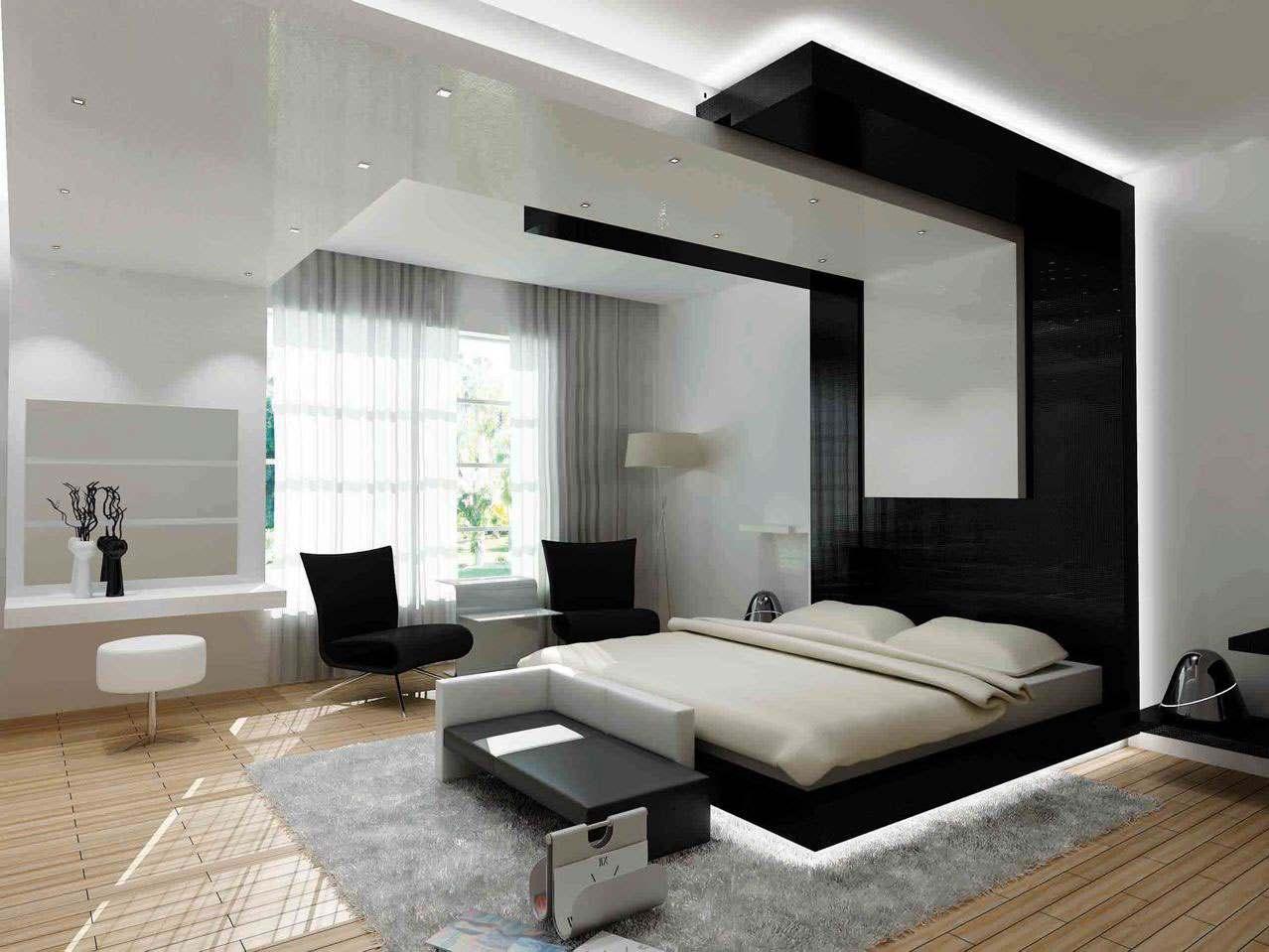 Черное-белая гамма для интерьера спальни5