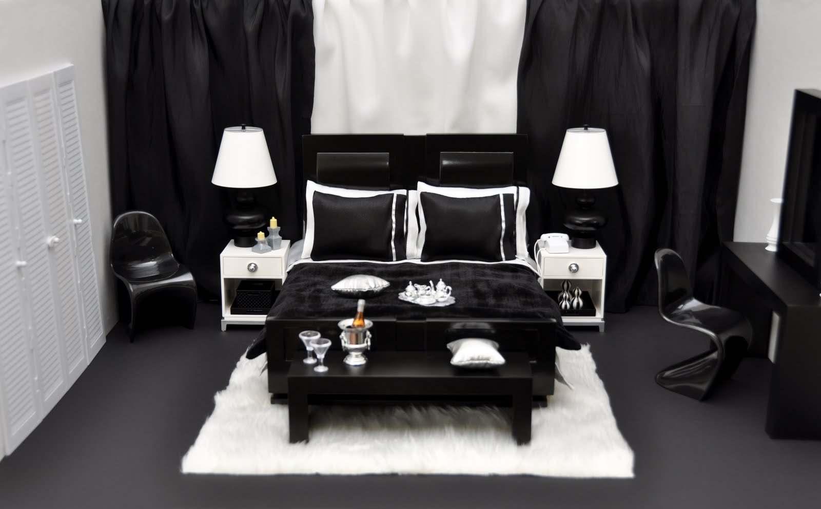 Черное-белая гамма для интерьера спальни8