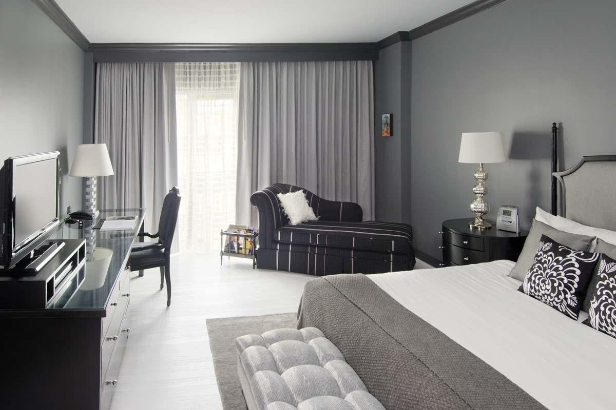 Черное-белая гамма для интерьера спальни9