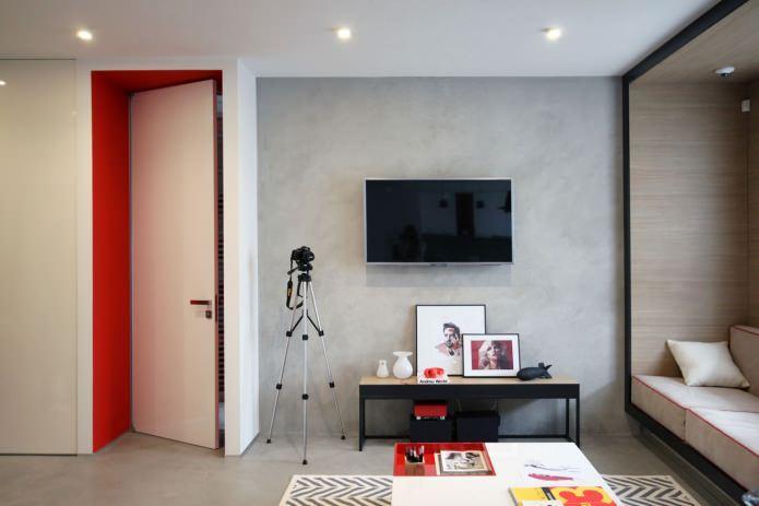 Дизайн квартиры 56 кв.м. в черно-бело-красной гамме (12)