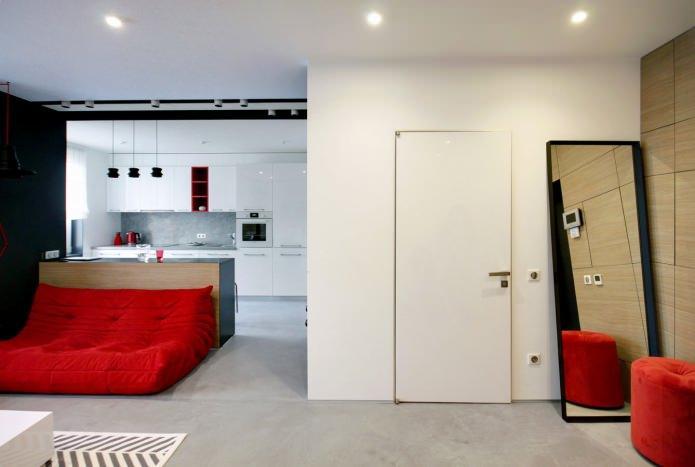 Дизайн квартиры 56 кв.м. в черно-бело-красной гамме (4)