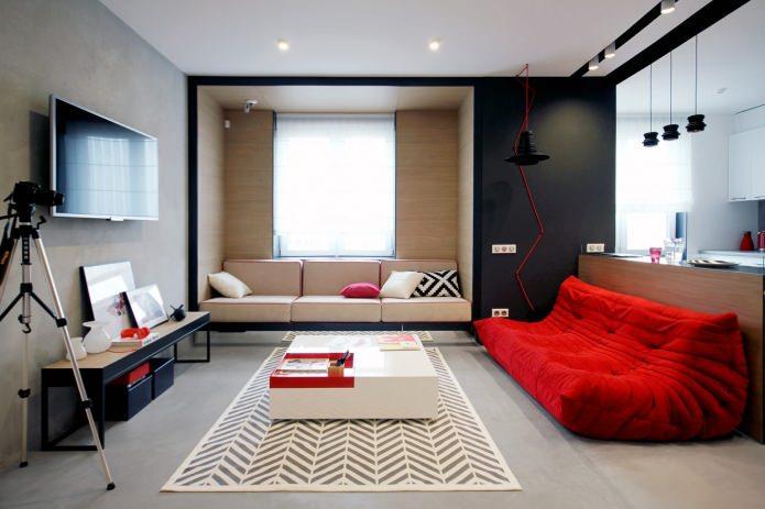 Дизайн квартиры 56 кв.м. в черно-бело-красной гамме (7)