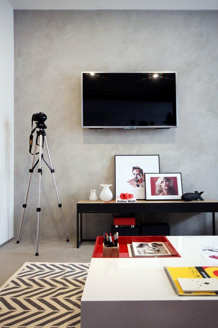 Дизайн квартиры 56 кв.м. в черно-бело-красной гамме (9)