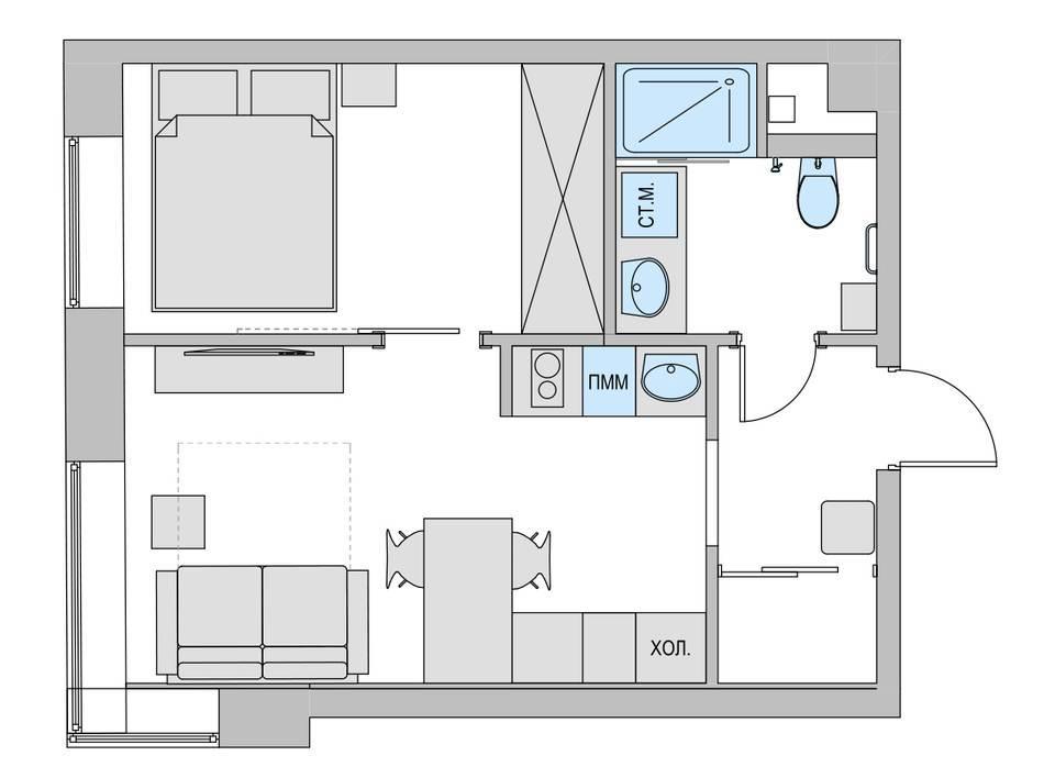 Дизайн маленькой двухкомнатной квартиры 33 кв.м. (12)