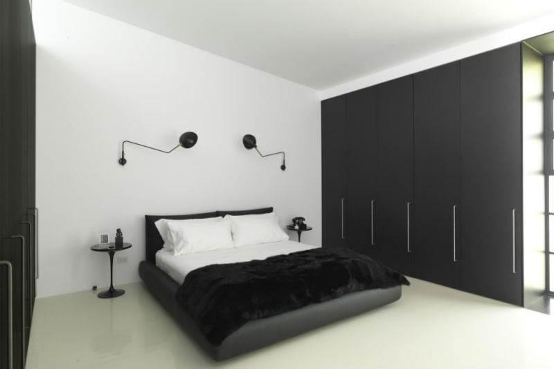 Дизайн спальни в черно-белой гамме10