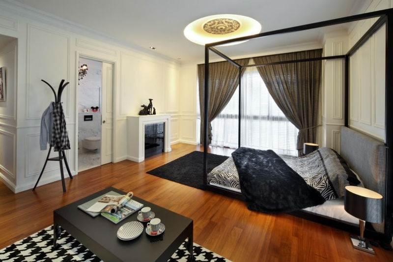 Дизайн спальни в черно-белой гамме2