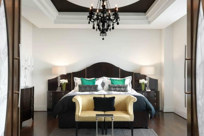 Дизайн спальни в черно-белой гамме3