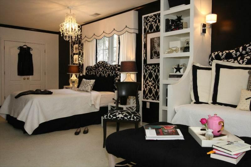 Дизайн спальни в черно-белой гамме7