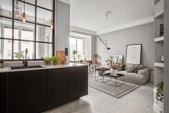 Фото интерьера маленькой однокомнатной квартиры 38 кв.м (5)