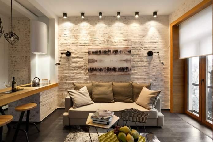 Интерьер квартиры 40 кв.м. в стиле лофт (16)