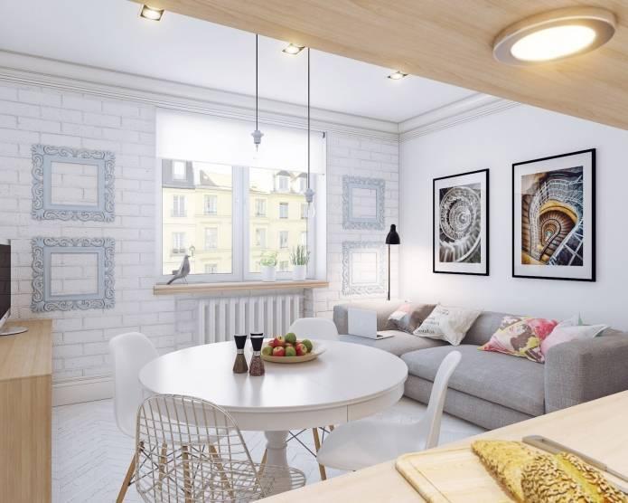 Интерьер маленькой квартиры-студии 24 кв. м. в скандинавском стиле