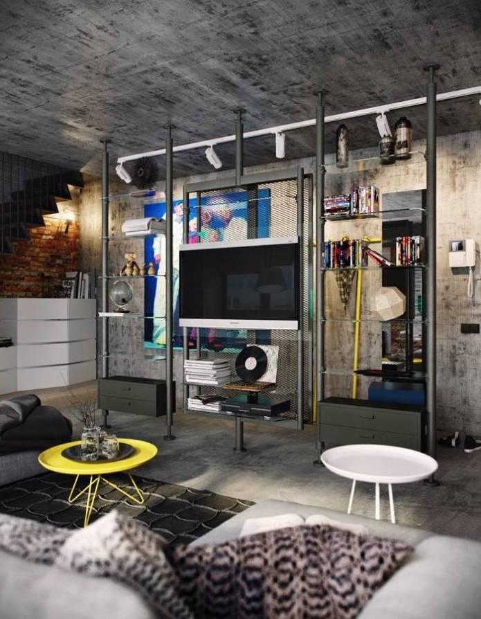 Интерьер современного двухуровневого лофта 110 кв.м. (16)