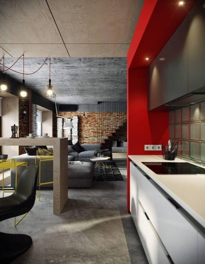 Интерьер современного двухуровневого лофта 110 кв.м. (4)