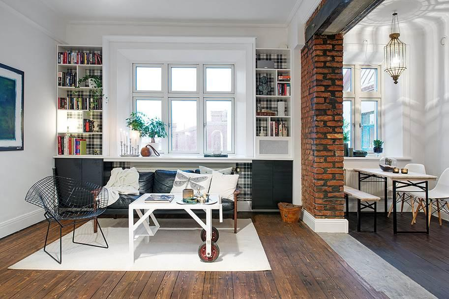 Amazing Swedish Apartment Interior Design with White Wall and Ceiling to Break Rustic Brick Wall Decor over the Entrance Frame