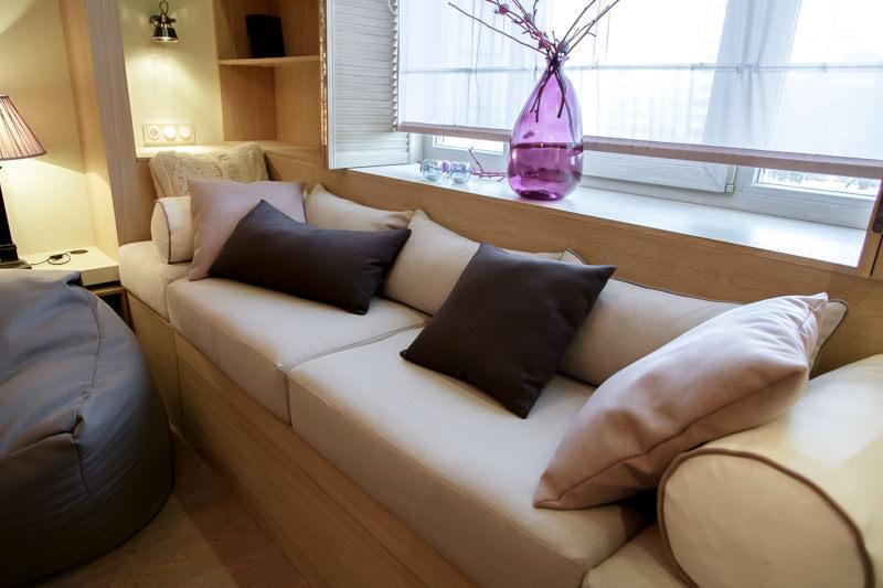 Обустройство гостиной 19 кв.м. в бежевом цвете (56)
