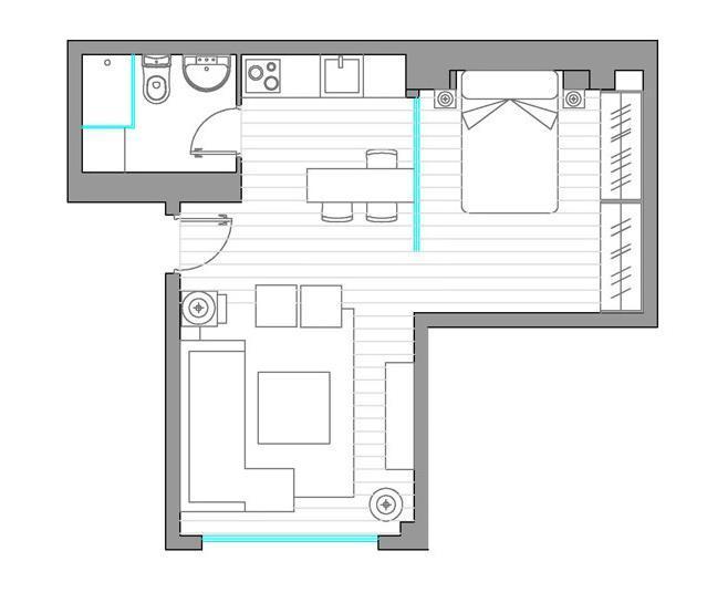 Перепланировка квартиры студии 40 кв.м (11)