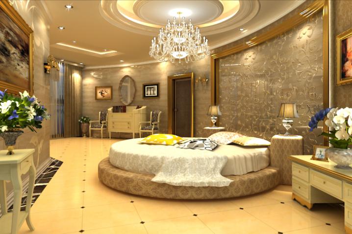 Потрясающий дизайн спальни с круглой кроватью (1)
