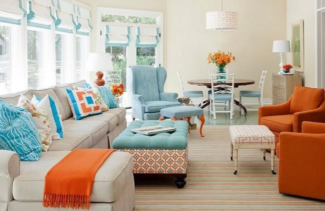 Сочетание оранжевого цвета интерьере квартиры (6)