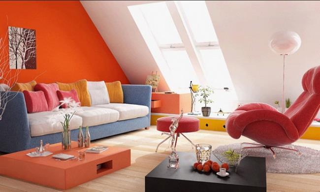 Сочетание оранжевого цвета интерьере квартиры (7)