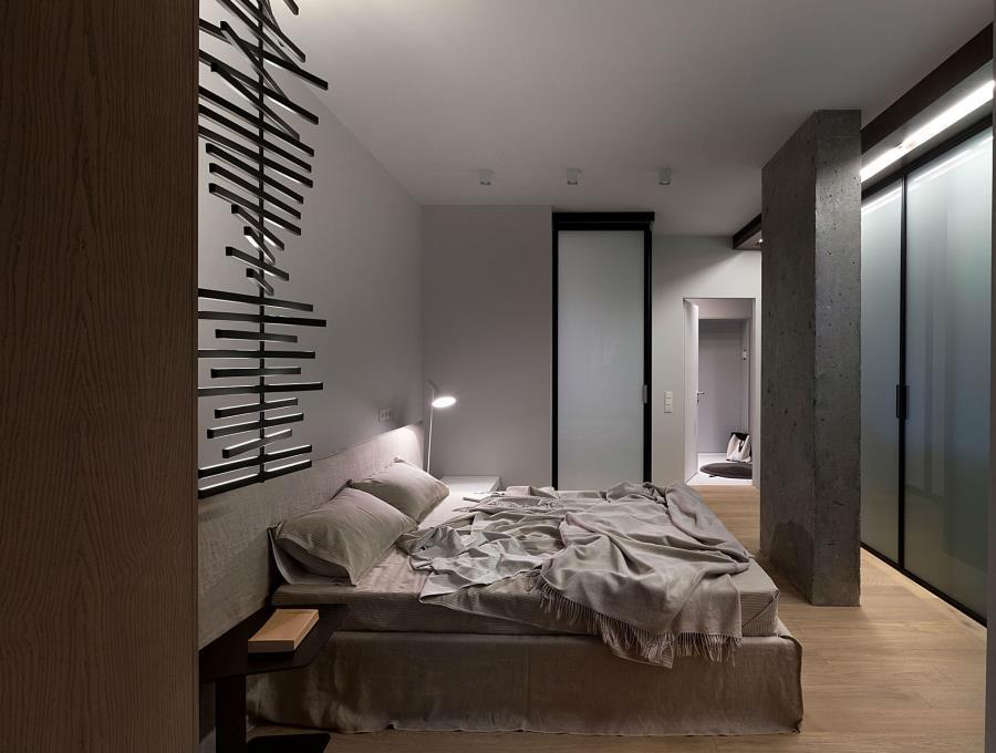Современный интерьер из бетона, камня и дерева (11)