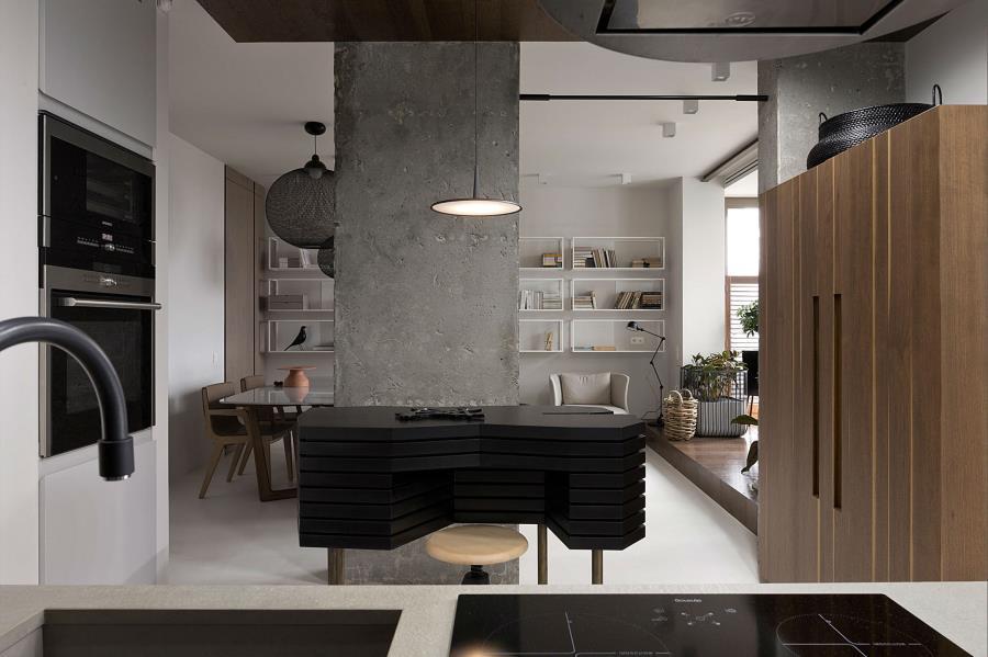 Современный интерьер из бетона, камня и дерева (5)