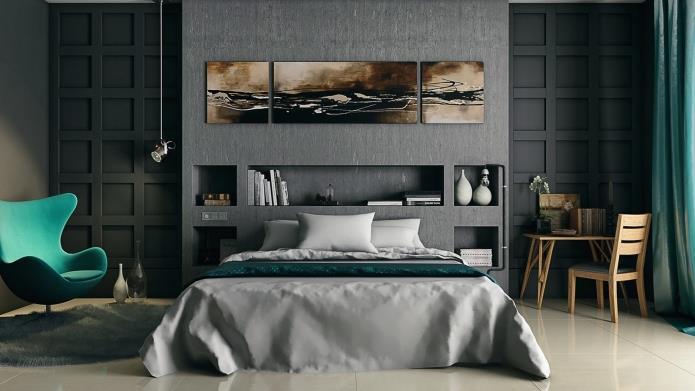 интерьер спальни в серой гамме (1)