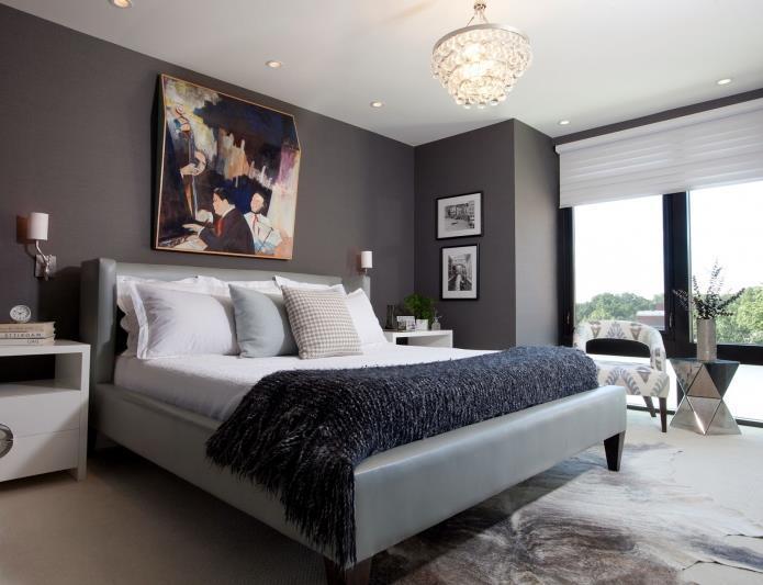 интерьер спальни в серой гамме (10)