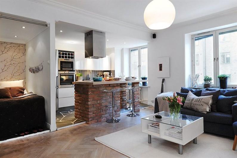 планировка интерьера однокомнатной квартиры8