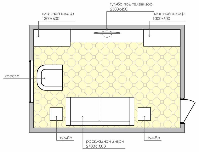 планировки спальни-гостиной площадью 18 кв12