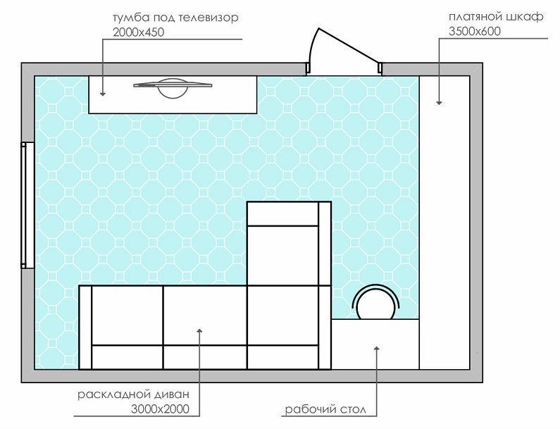 планировки спальни-гостиной площадью 18 кв13