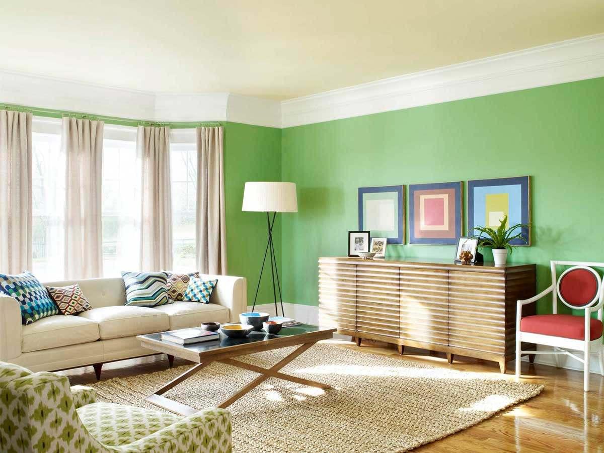 зеленый цвет в интерьере гостиной3