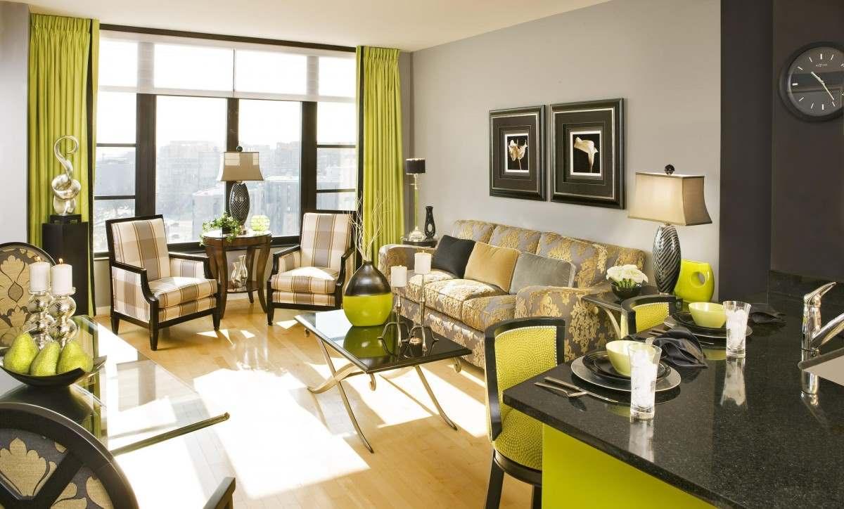 зеленый цвет в интерьере гостиной4