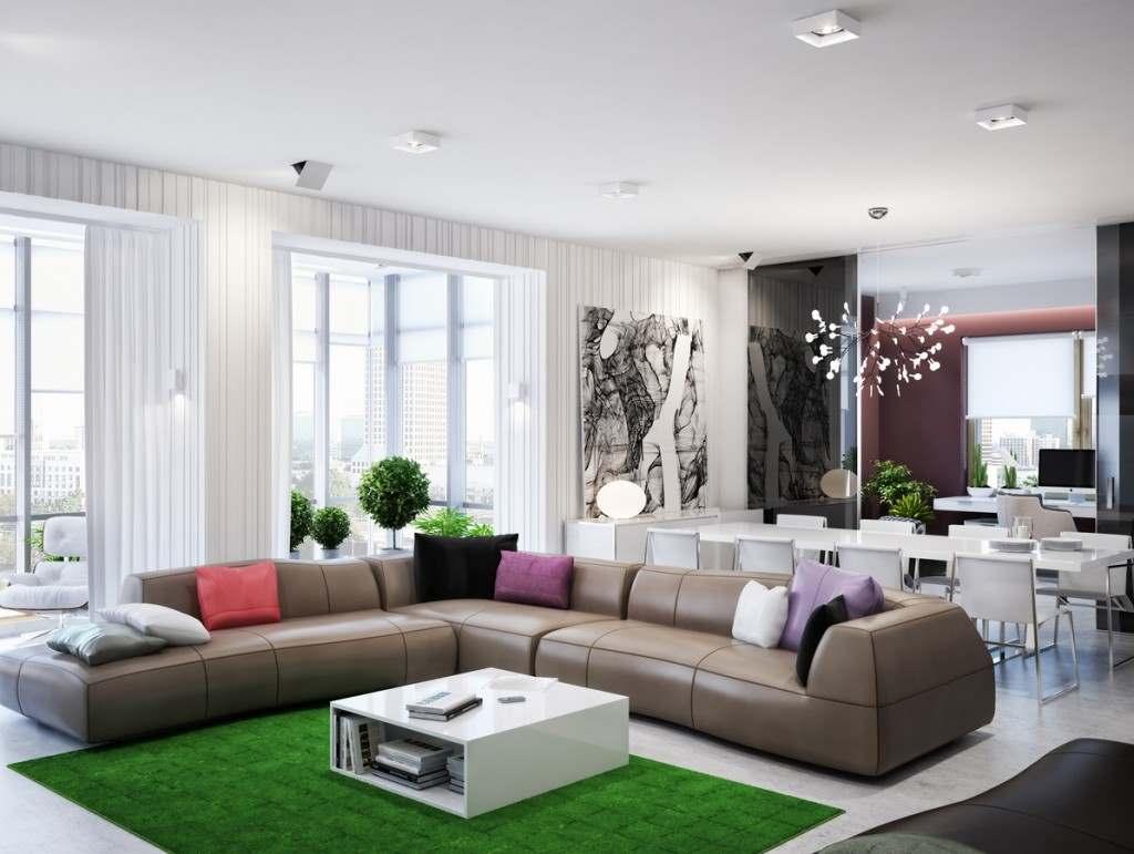 зеленый цвет в интерьере гостиной5