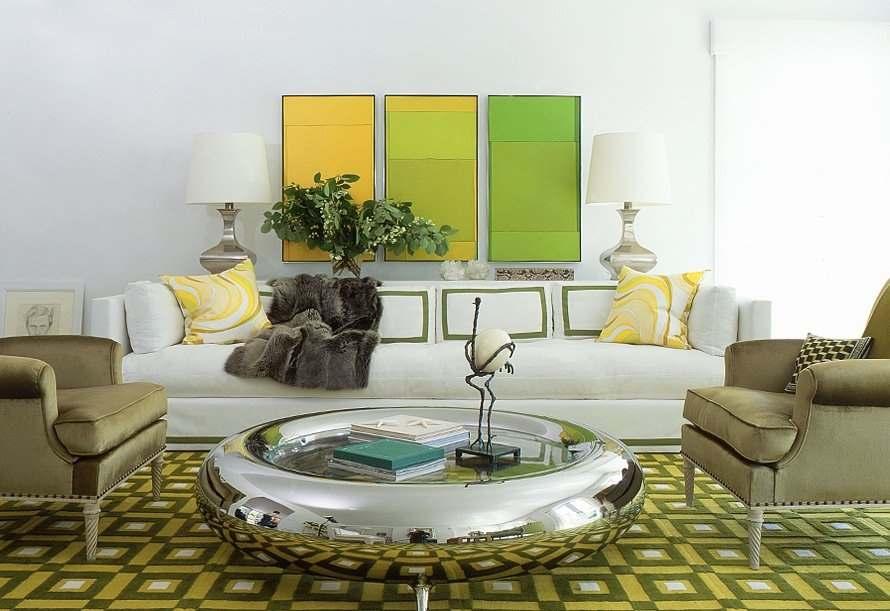 зеленый цвет в интерьере гостиной7