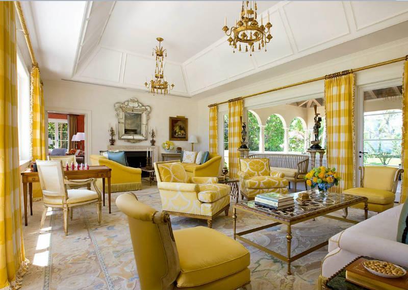 желтый цвет в интерьере гостиной2