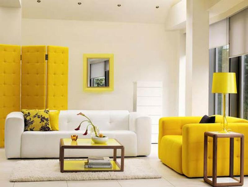желтый цвет в интерьере гостиной5