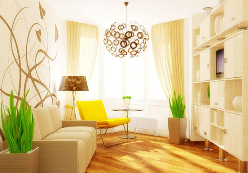 желтый цвет в интерьере гостиной6