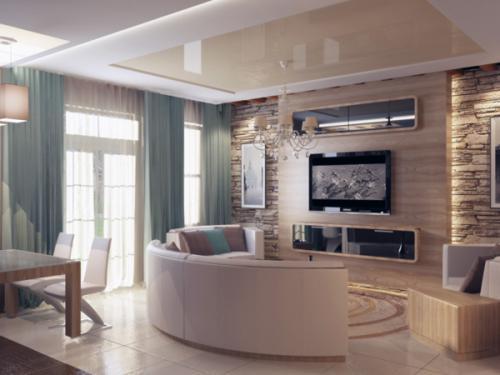 Декоративная отделка стен в гостиной-22
