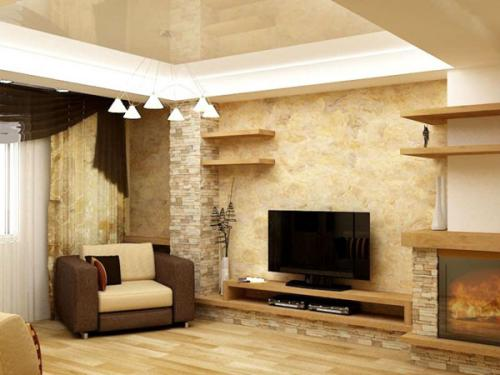 Декоративная отделка стен в гостиной