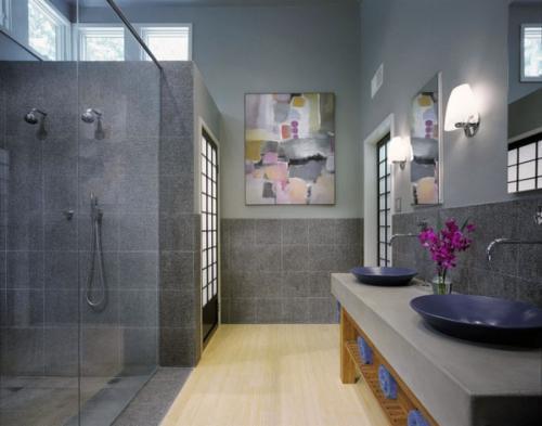 современный дизайн ванной деревянный пол