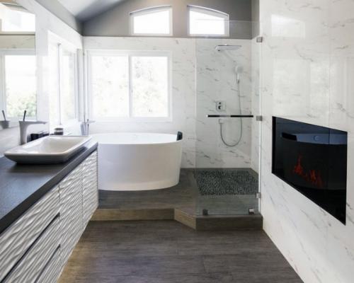 современный дизайн деревянный пол белая тщеславие ходить в душе