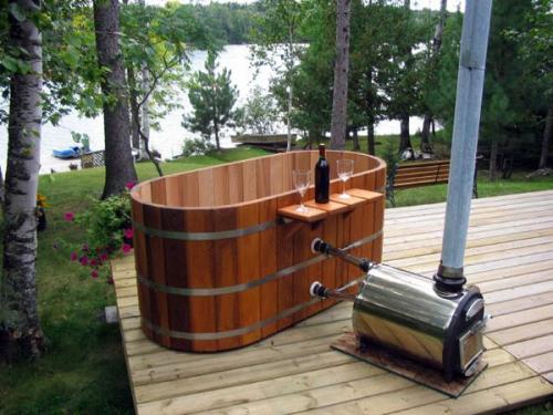 дизайн идеи деревянная купель с подогревом