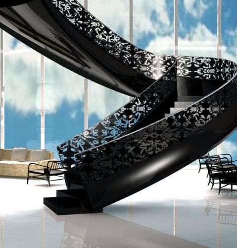 современная лестничная решетка из стального поручня