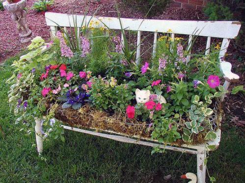 летний сад скамейке цветок контейнер