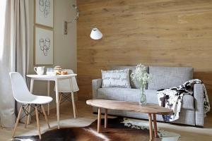 Интерьер дизайн скандинавский стиль маленький диван деревянный журнальный столик…
