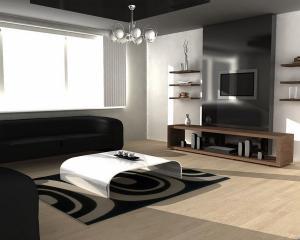 Современный интерьер черный диван белый журнальный столик