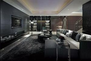 Серый акцент стена белый серый диван круглый черный деревянный стол